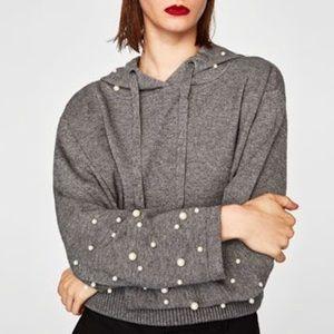 Zara Tops - Zara Pearly Hooded Sweater M